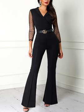 Ericdress Patchwork Lace Full Length Bellbottoms Slim Jumpsuits(Without Waistband)