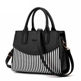 Ericdress PU Stripe Color Block Square Tote Bags
