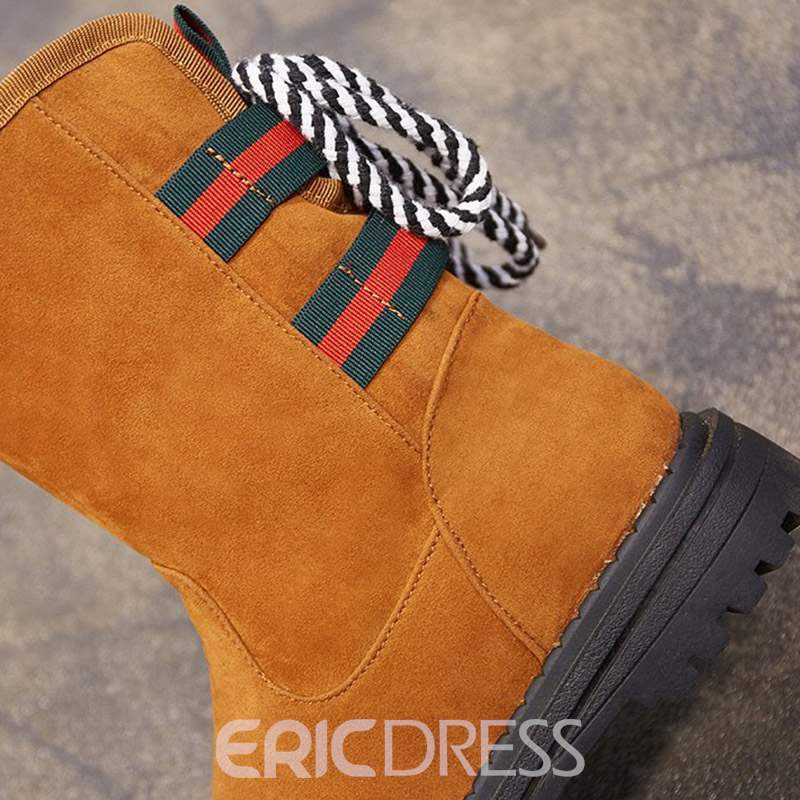 Ericdress Lace-Up Back Round Toe Women's Snow Boots