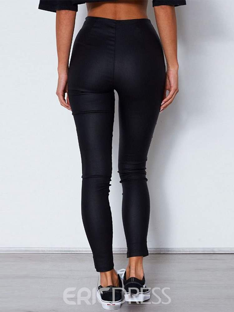 Ericdress Zipper Skinny Plain PU Pencil Pants