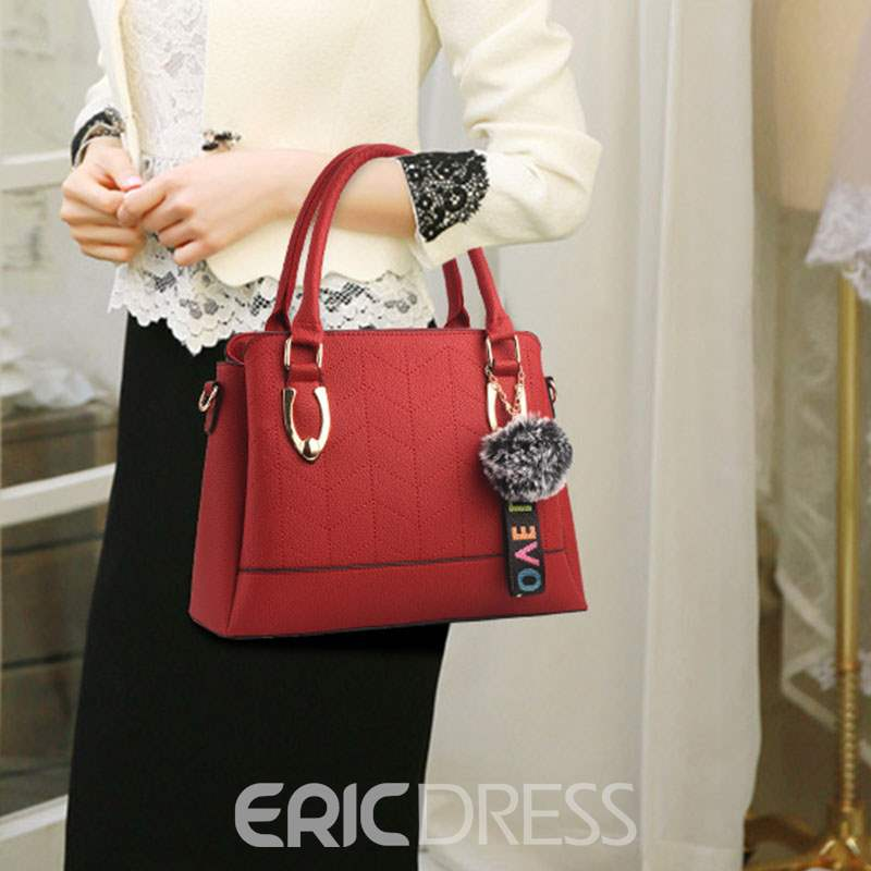 Ericdress PU Plain Quilted Lining Square Tote Bags