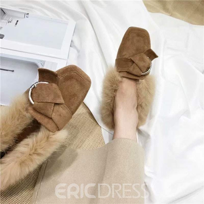 Ericdress Purfle Slip-On Square Toe Women's Winter Flats