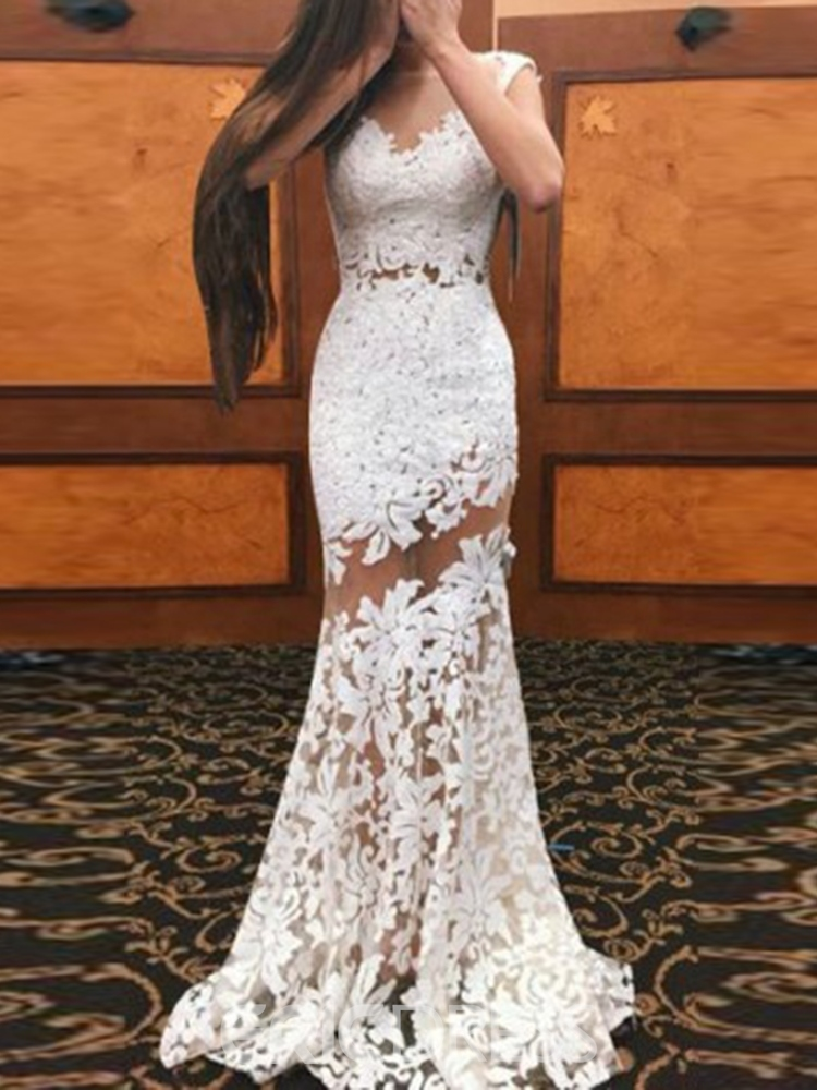 Ericdress Lace Sleeveless Floor-Length Mermaid Dress