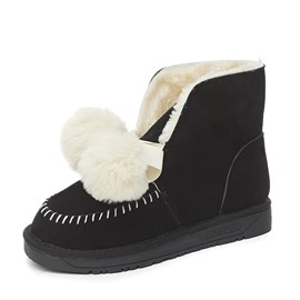 Ericdress Pompon Round Toe Lace-Up Women's Winter Boots