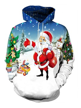 Ericdress Santa Claus Christmas Print Mens Pullover Loose Hoodies