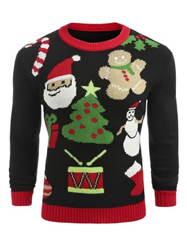 Ericdress Patchwork Ugly Christmas Round Neck Mens Sweater