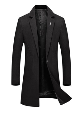 Ericdress Plain Lapel Mid-Length One Button Mens Wool Coat