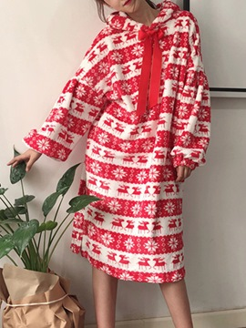 Ericdress Christmas Snowflake Elk Print Nightgown