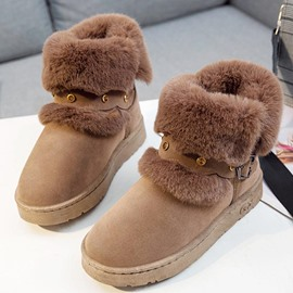 Ericdress Faux Fur Round Toe Slip-On Women's Snow Boots