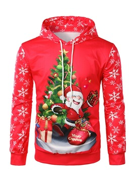 Ericdress Christmas Printed Hooded Mens Causal Hoodies