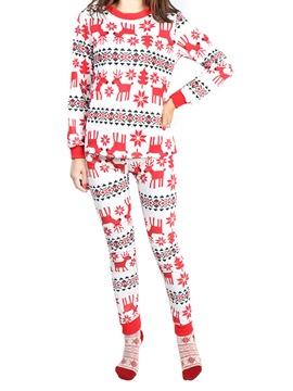 Ericdress Fawn Snowflake Print Long Christmas Pajama Set for Women