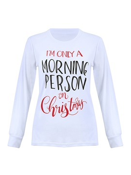 Ericdress Loose Long Sleeve Letter Christmas Pajama Tops for Women