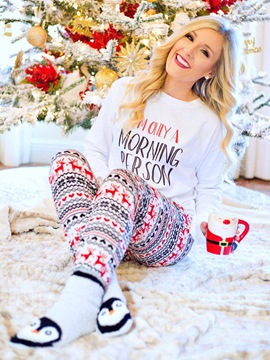Ericdress Christmas Snowflake Elk Skinny Pajama Set for Women