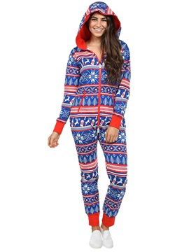 Ericdress Christmas Print Hooded Bodysuit Pajama for Women