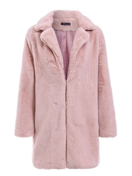Ericdress Notched Lapel Plain Regular Slim Thick Faux Fur Overcoat