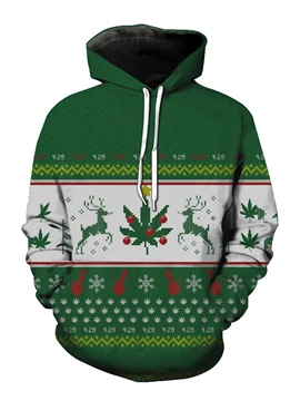 Ericdress Christmas Printed Hooded Lace Up Mens Pullover Hoodies