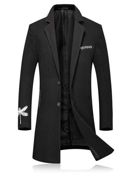 Ericdress Embroidery Plain Lapel Mid-Length Mens Casual Wool Coat