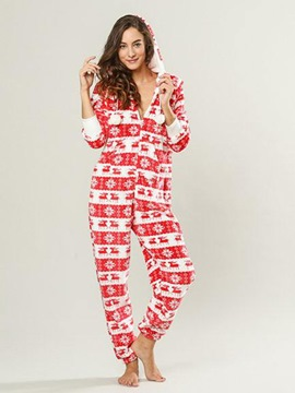 Ericdress Christmas Print Long Sleeve Bodysuit Pajama for Women