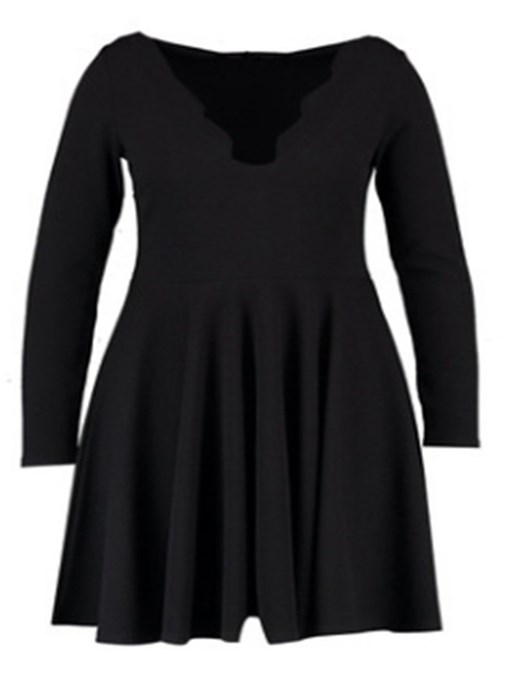 Ericdress Above Knee Long Sleeve Plus Size Pullover Dress