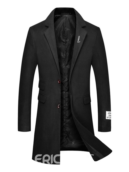 Ericdress Plain Lapel Mid-Length Single-Breasted Mens Casual Wool Coat