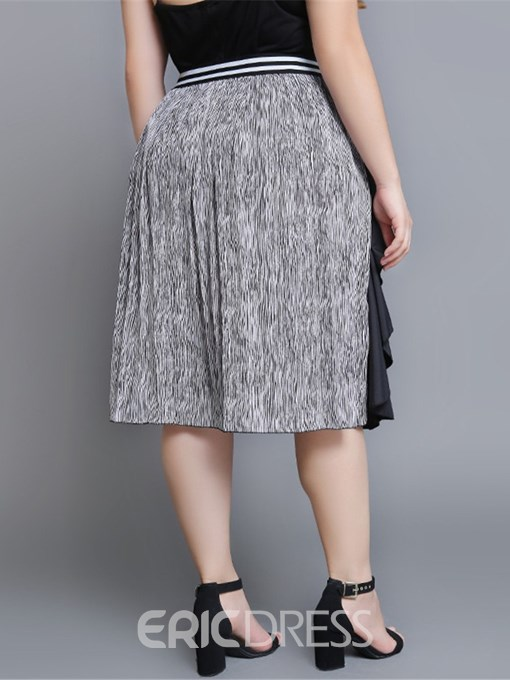Ericdress Plus Size A-Line Pleated Color Block Casual Skirt