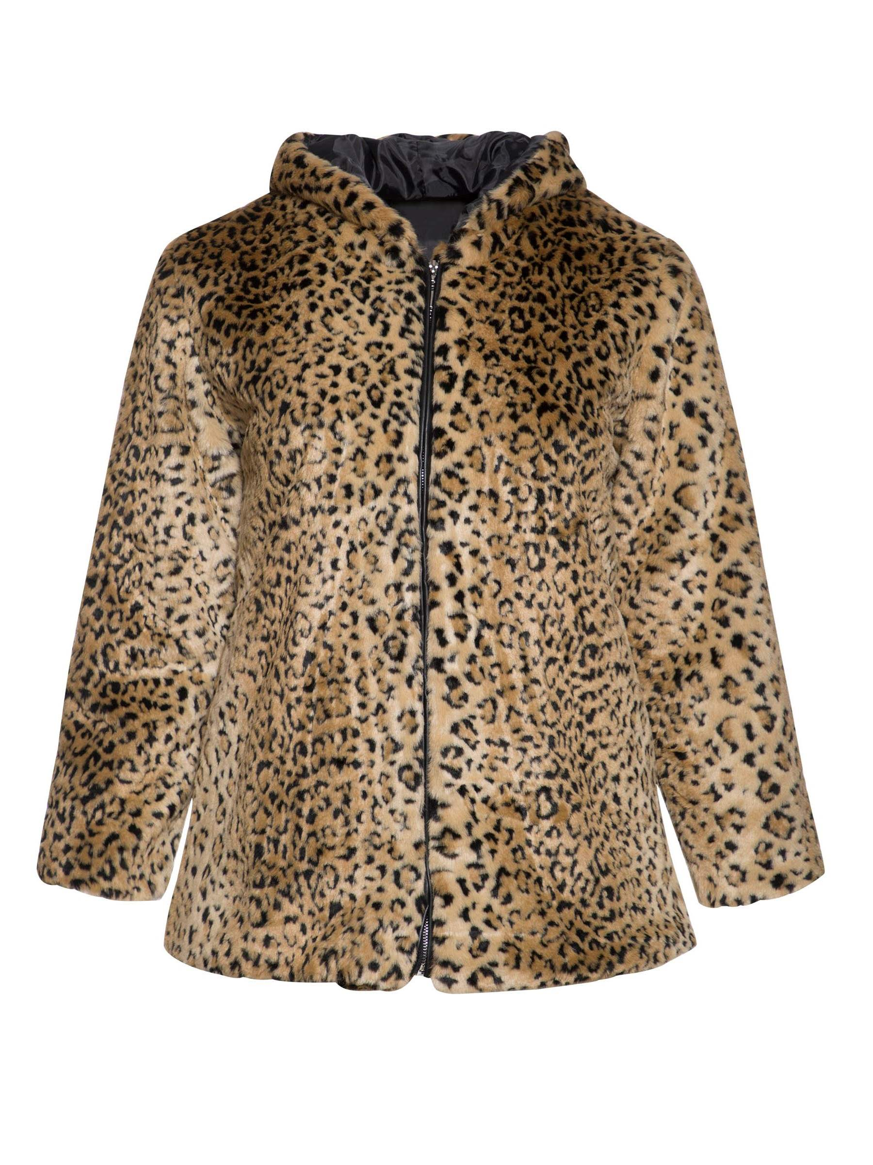 Ericdress Leopard Mid-Length Hooded Fall Faux Fur Overcoat