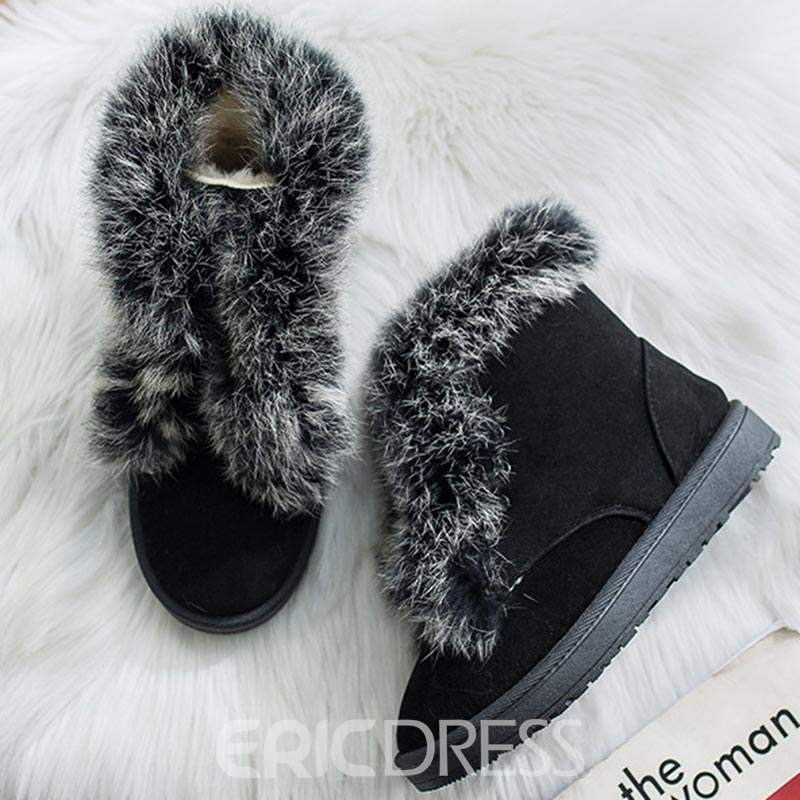 Ericdress Round Toe Lace-Up Women's Snow Boots