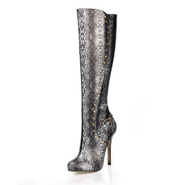 Ericdress Serpentine Round Toe Stiletto Heel Side Zipper Women's Boots