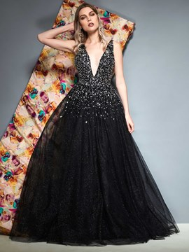 Ericdress A-Line Beaded V-Neck Black Evening Dress