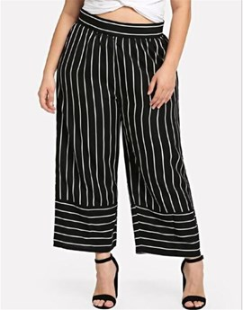 Ericdress Plus Size Stripe Loose Wide Legs Ankle Length Casual Pants