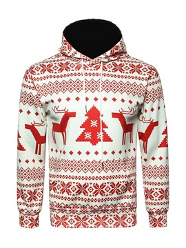 Ericdress Cartoon Christmas Printed Pullover Mens Casual Hoodies