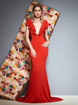 Ericdress Mermaid Ruffles V-Neck Red Evening Dress 2019