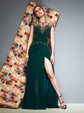 Ericdress Cap Sleeves Pick-Ups Floor-Length Evening Dress 2019