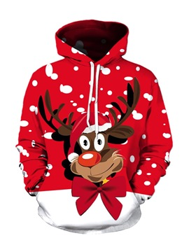Ericdress Cartoon Christmas Print Pullover Mens Hoodies