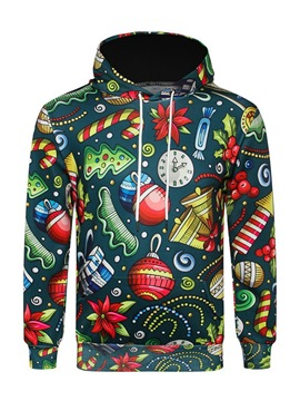 Ericdress Christmas Cartoon Printed Lace Up Mens Casual Hoodies