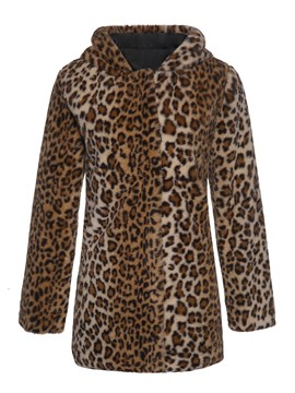 Ericdress Leopard Hooded Mid-Length Fall Straight Faux Fur Overcoat