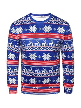 Ericdress Cartoon Christmas Pullover Printed Mens Casual Sweatshirts