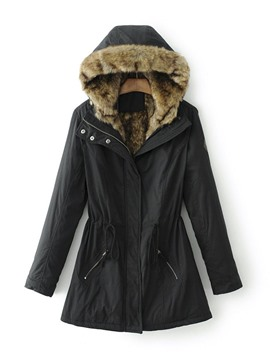 Ericdress Slim Pocket Zipper Mid-Length Cotton Padded Jacket