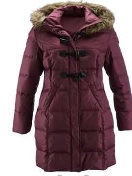 Ericdress Straight Horn Button Mid-Length Cotton Padded Jacket