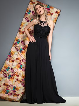Ericdress Appliques A-Line Black Prom Dress
