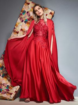 Ericdress A-Line Scoop Appliques Red Evening Dress 2019