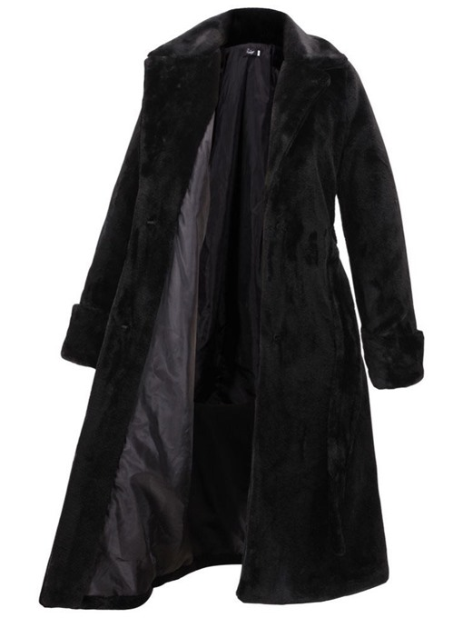 Ericdress Lapel Regular Plain Faux Leather Thick Faux Fur Overcoat