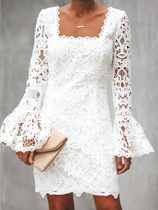 Ericdress Lace Flare Sleeve Above Knee Flare Sleeve Straight Dress