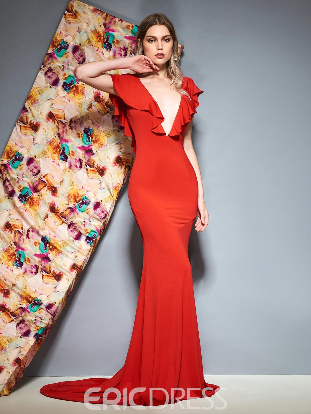 Ericdress Mermaid Ruffles V-Neck Red Evening Dress