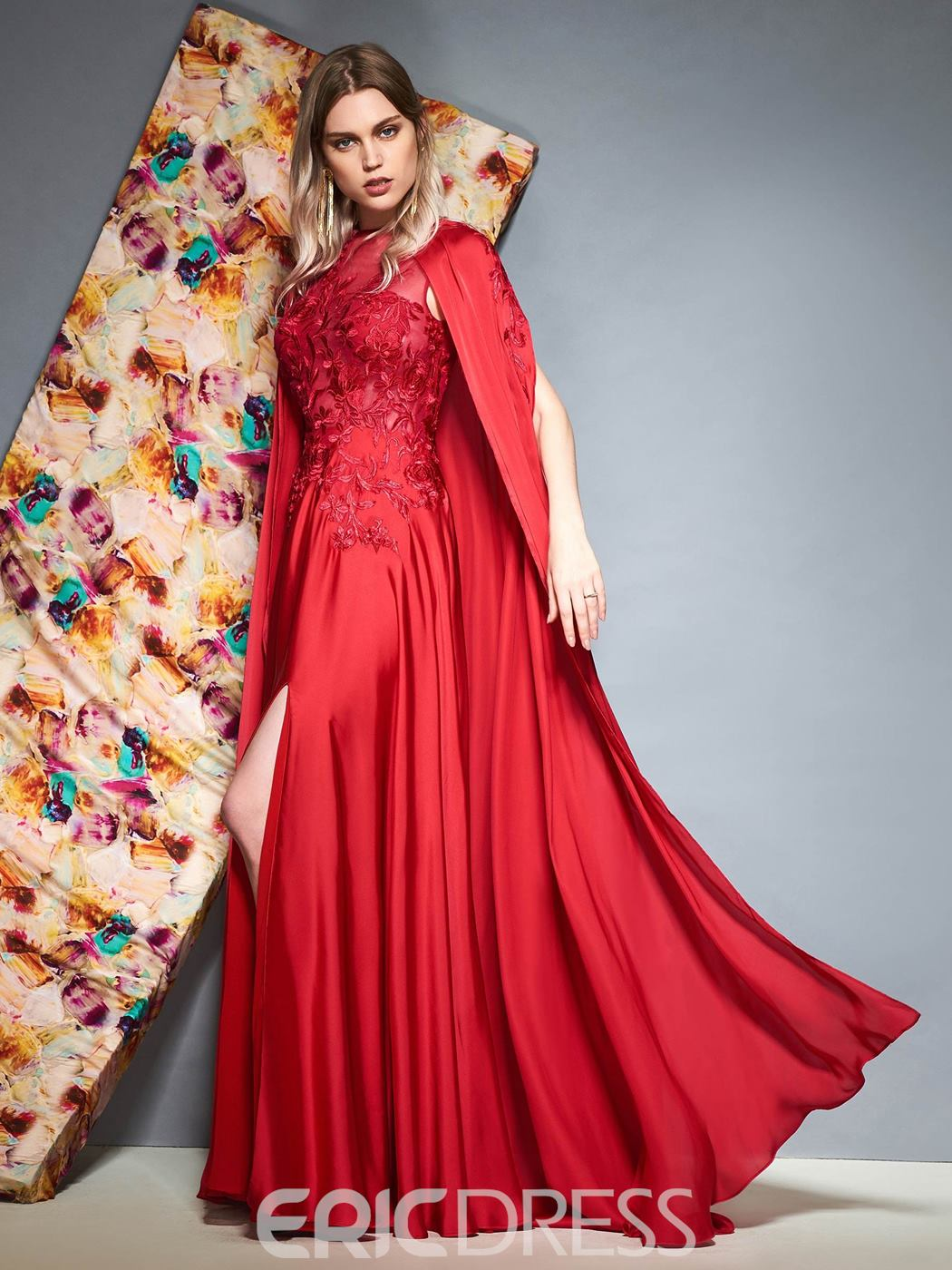 Ericdress A-Line Scoop Appliques Red Evening Dress