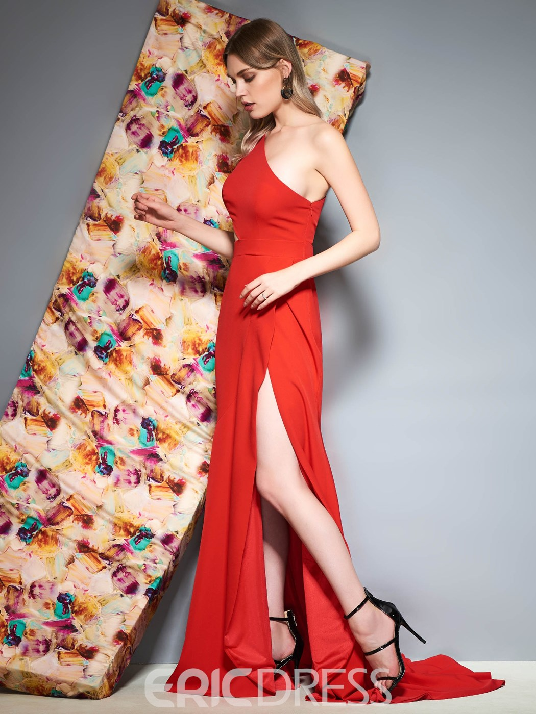 Ericdress One Shoulder Mermaid Red Prom Dress
