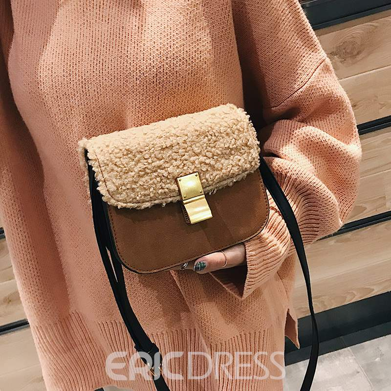 Ericdress Color Block PU Rectangle Crossbody Bags