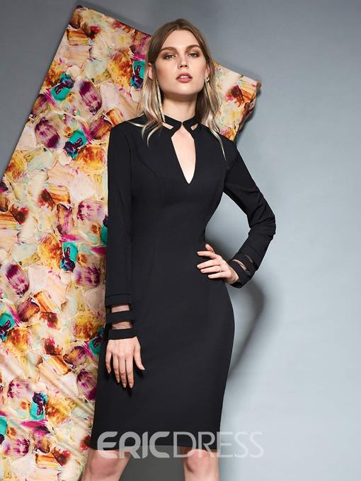 Ericdress Knee-Length Sheath Long Sleeves Cocktail Dress