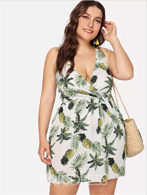 Ericdress Plus Size Lace-Up Above Knee Sleeveless Halter Floral Dress