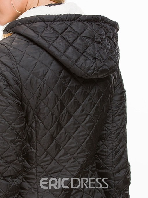 Ericdress Slim Zipper Mid-Length Cotton Padded Jacket